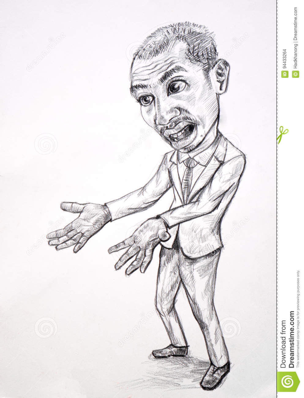 Pencil drawing caricature of businessman in emotion of anger feeling of his bad hair day or was disappointed something not be as expect
