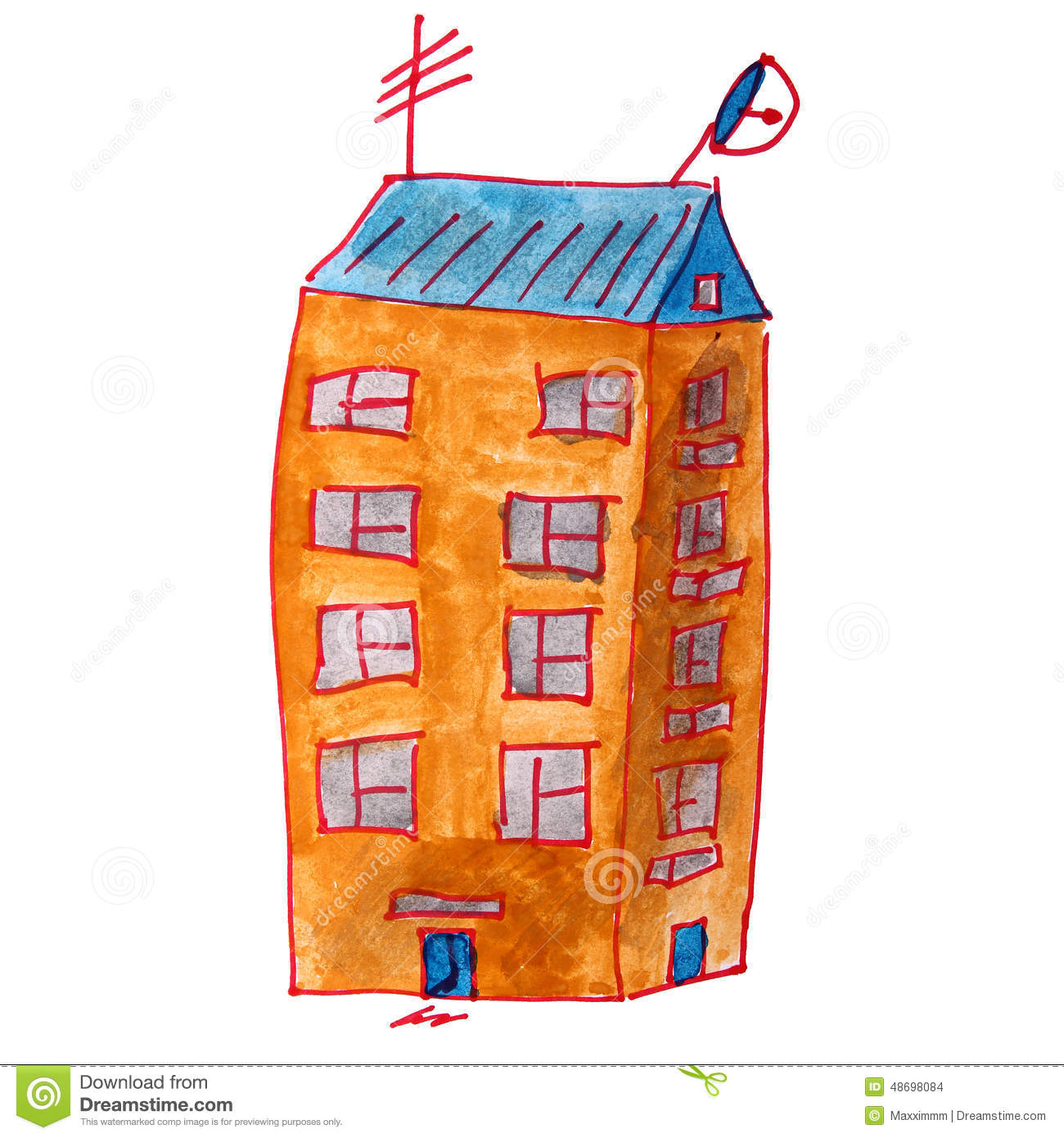 Drawing Cartoon Kids Watercolor High rise Building Stock