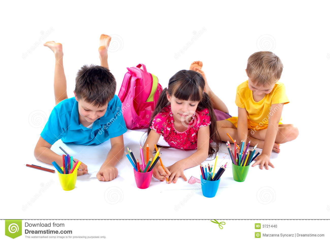 Drawing children with colour pencils in colorful cups. White studio ...
