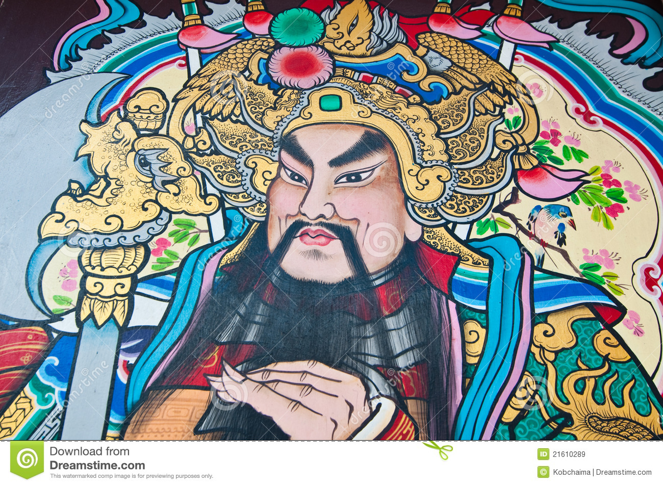 The Drawing Of Chinese God On Door Royalty Free Stock