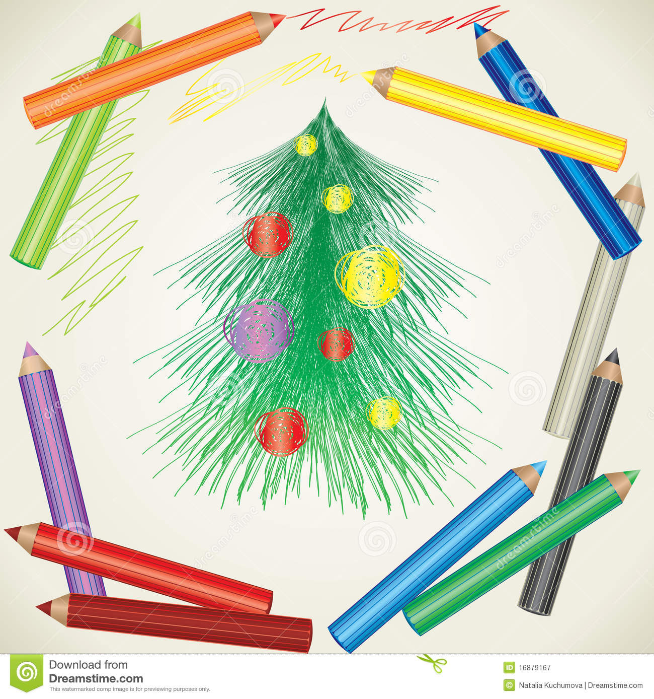 Drawing Of Christmas Tree And Color Pencils Stock Vector ...