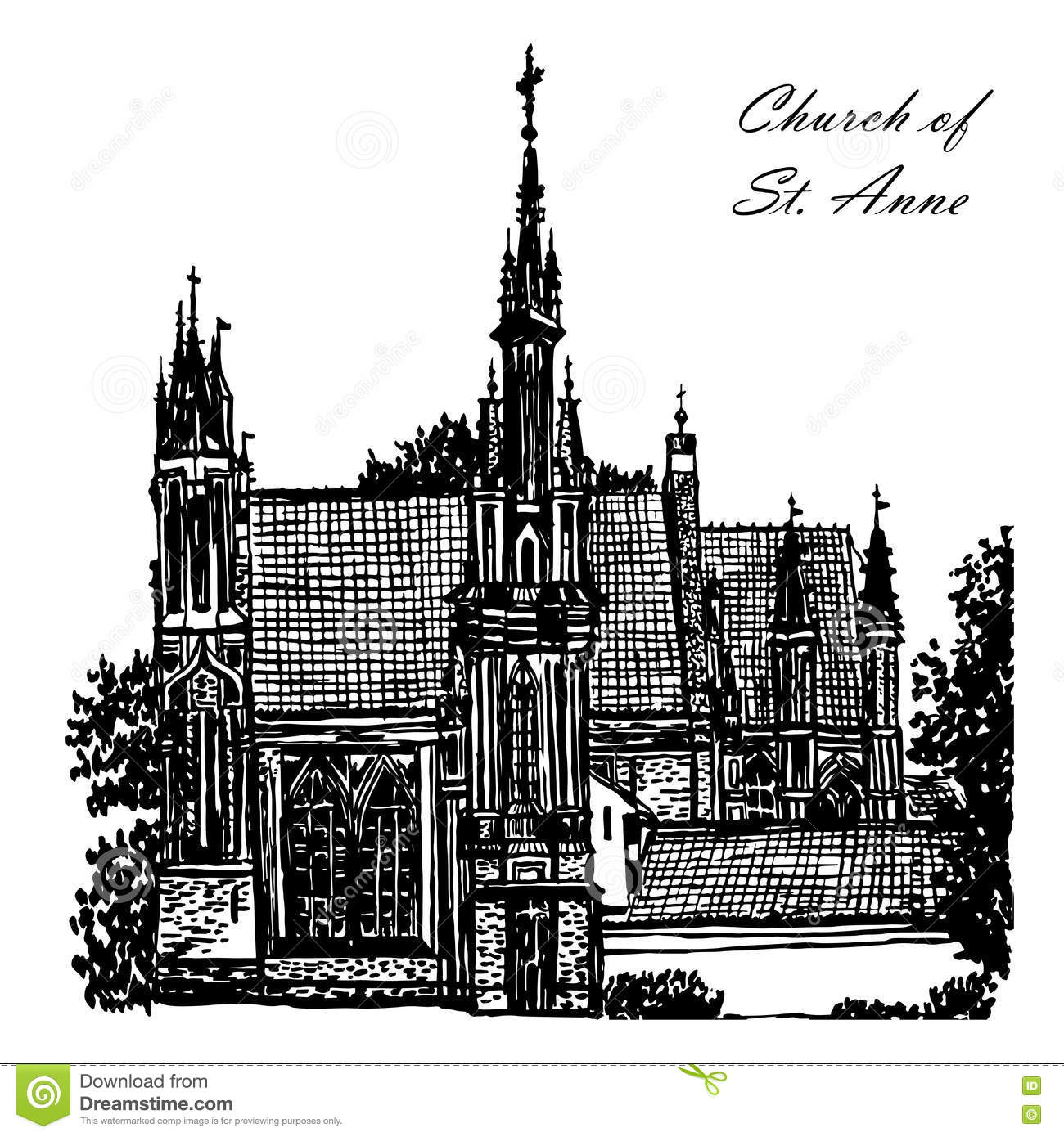 Drawing Church Of St Anne In Vilnius Illustration Stock Vector