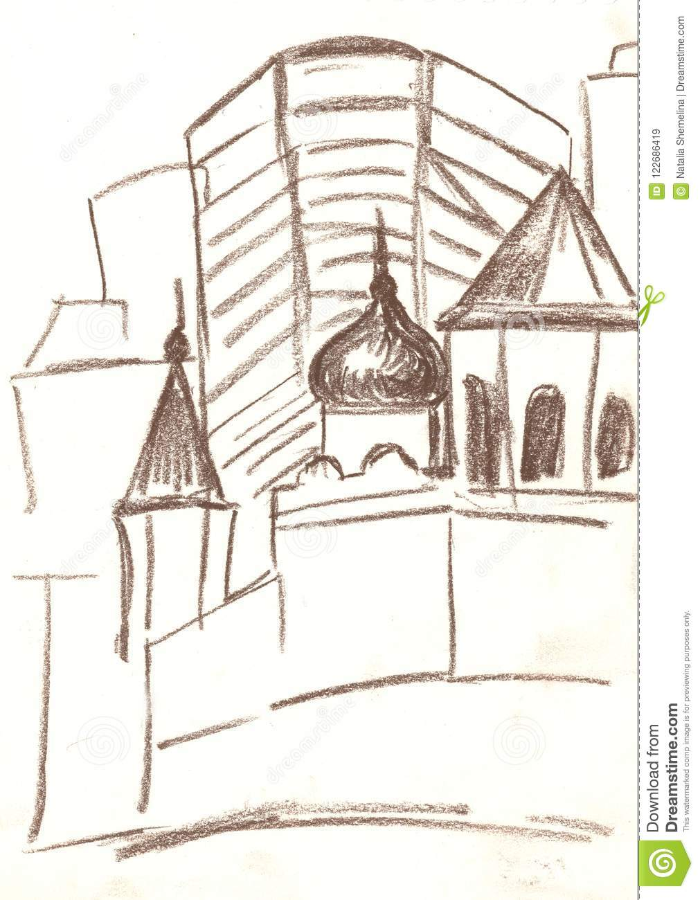 Drawing Of The City With Brown Pencil Sketch Stock Illustration