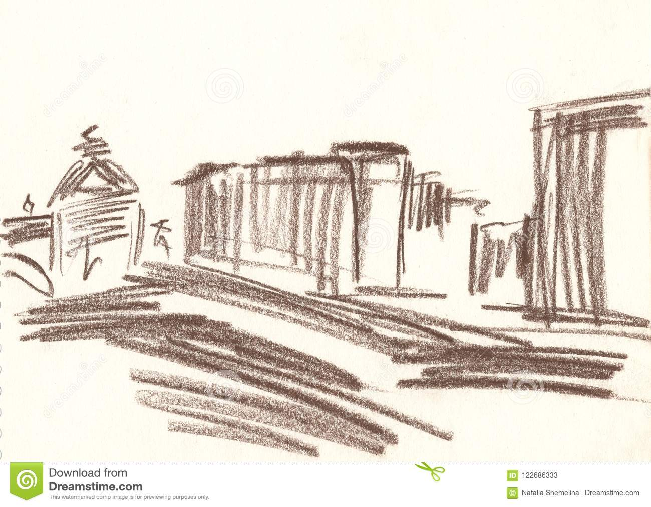 Drawing of the city with brown pencil city sketches city landscape houses monument quick sketch