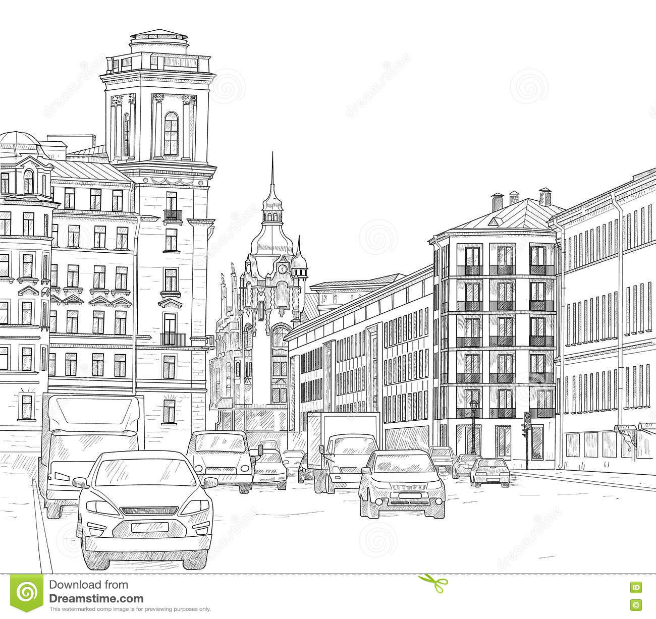 Architecture Drawing Cars drawing a city street stock vector - image: 76444105