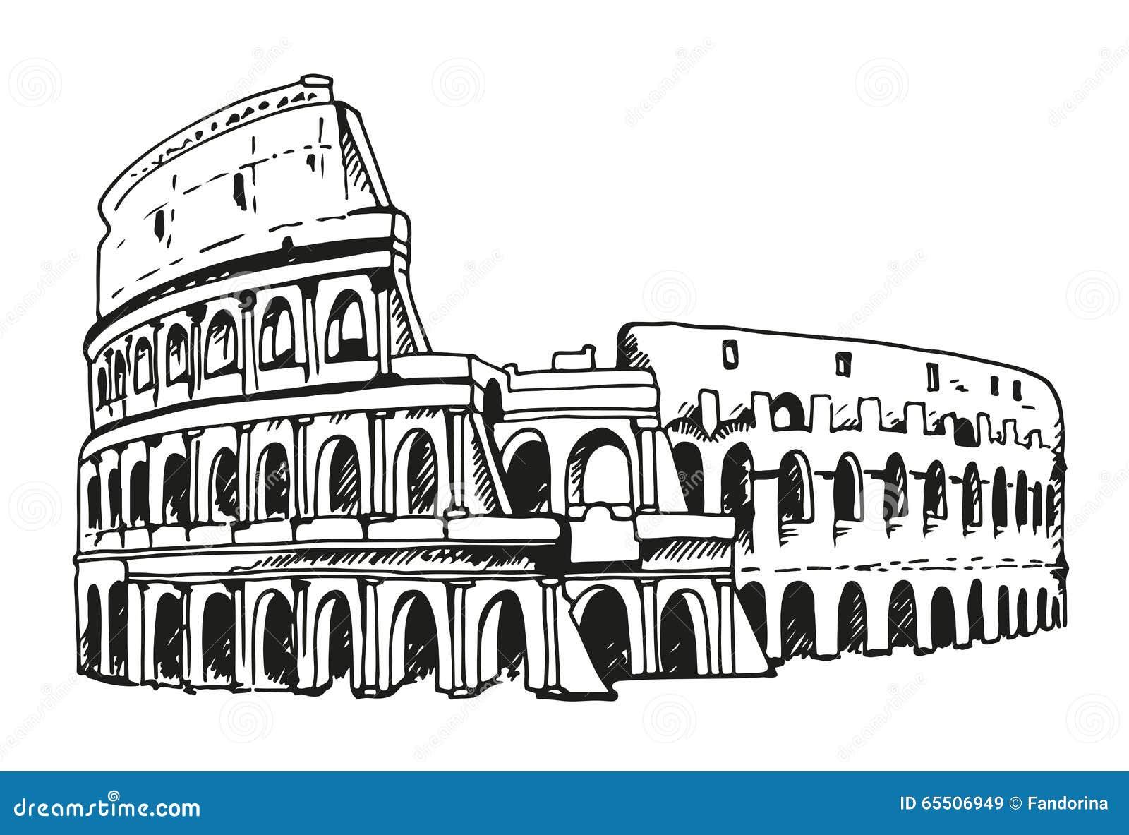 Drawing of coliseum colosseum illustration in rome italy for Colosseo da colorare