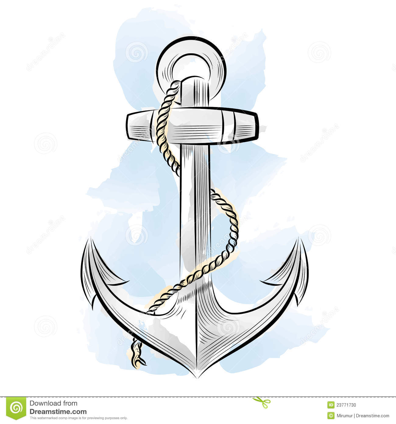 Line Drawing Anchor : Drawing color anchor stock vector image of element black
