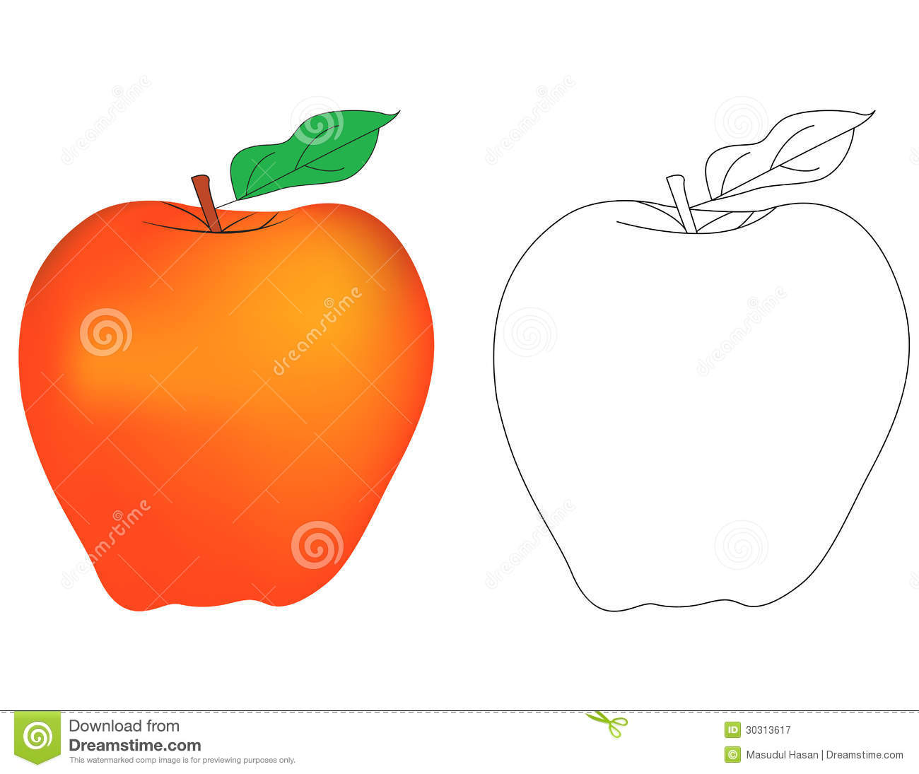 Drawing Coloring page for kids. a for apple with fill color sample ...