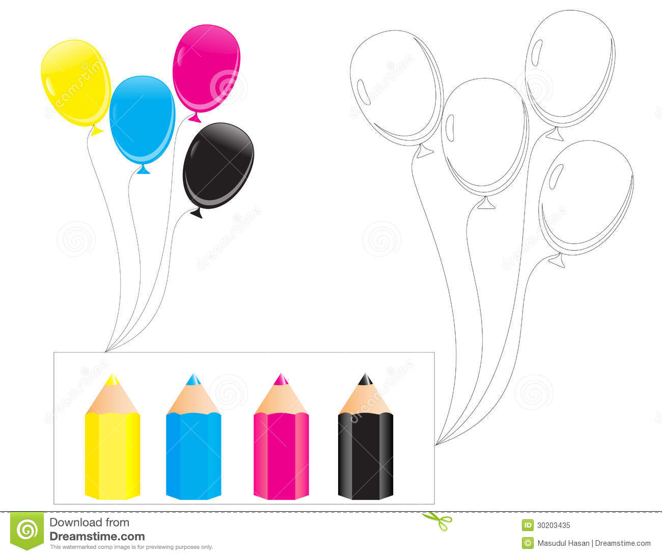 B For Balloon Stock Vector Illustration Of Cmyk Cartoon