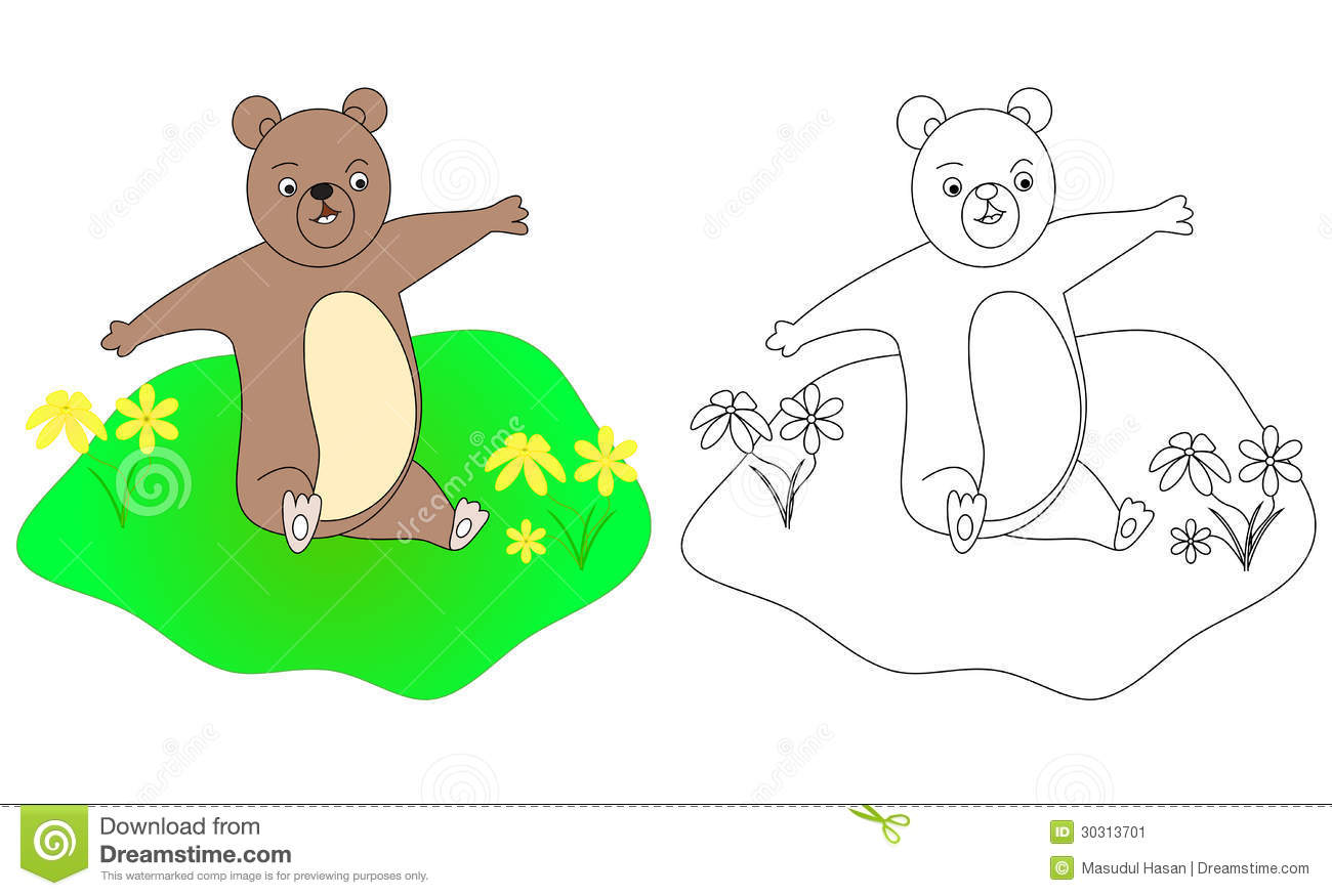 Drawing Coloring Page For Kids B Bear With Color Sample Isolated