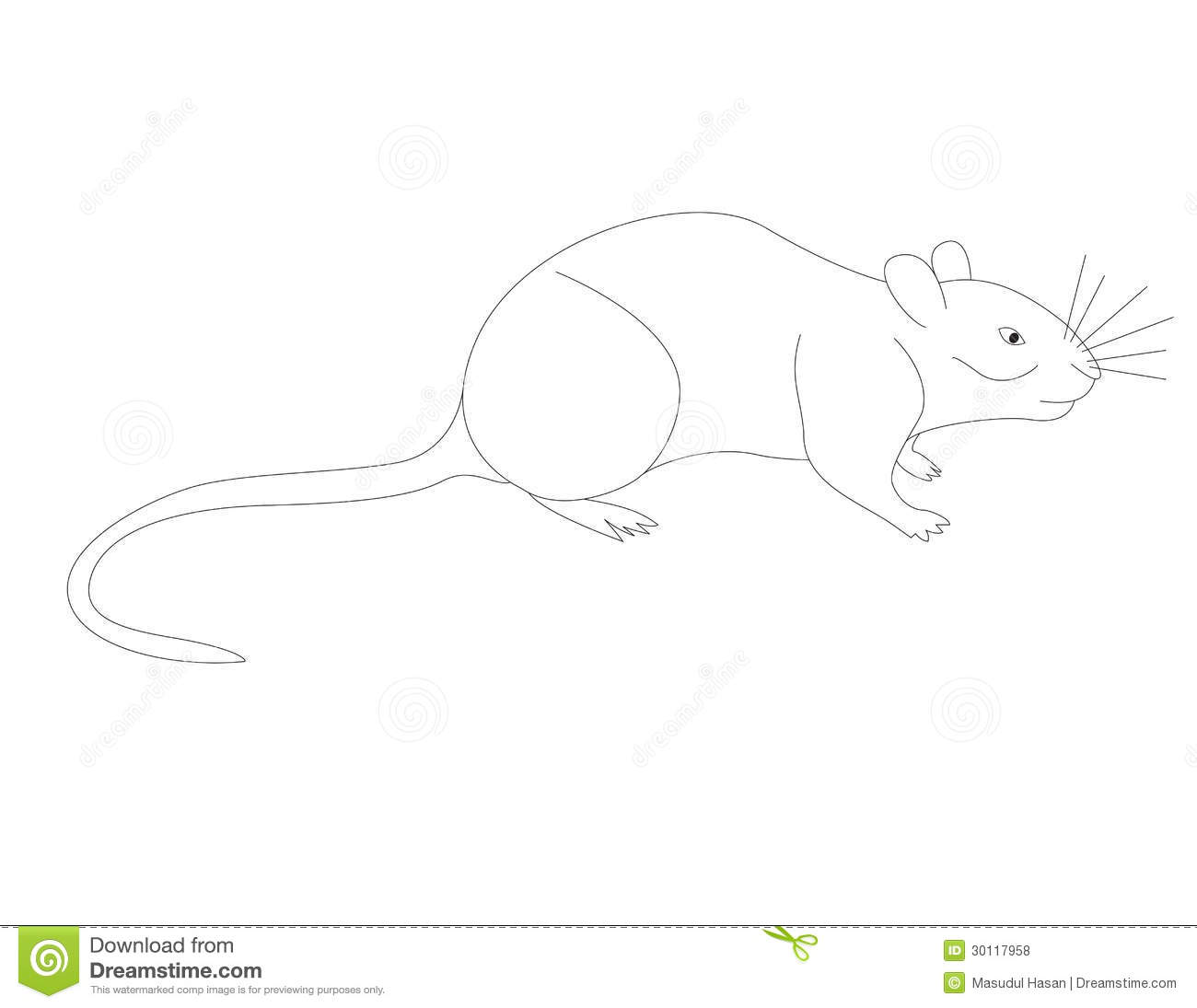 Drawing Coloring Page For Kids V Vole Isolated On White