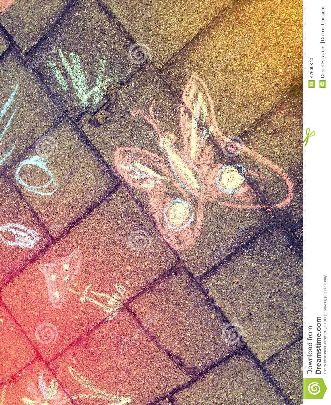 Drawing with colour chalk