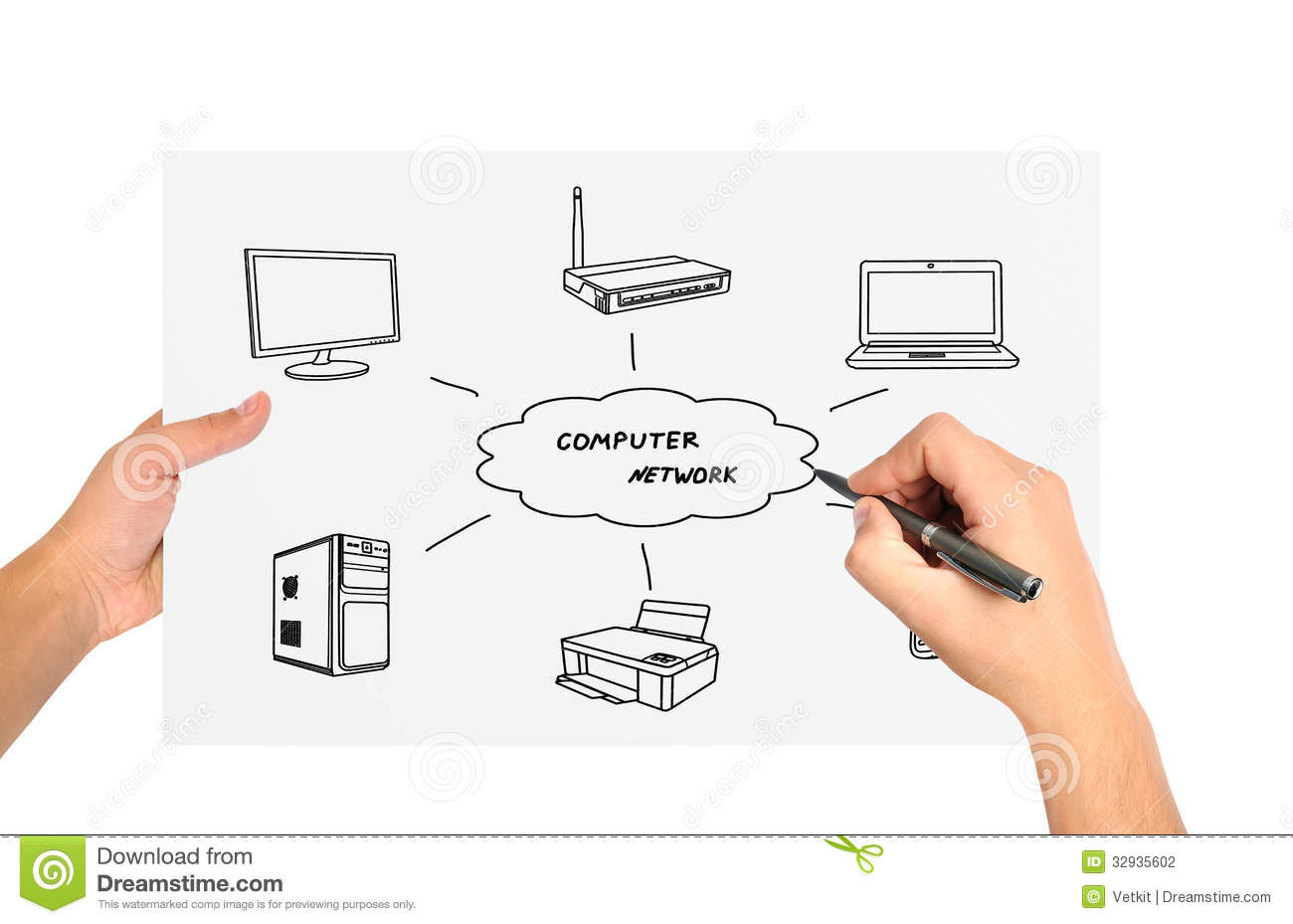 drawing computer network stock photography