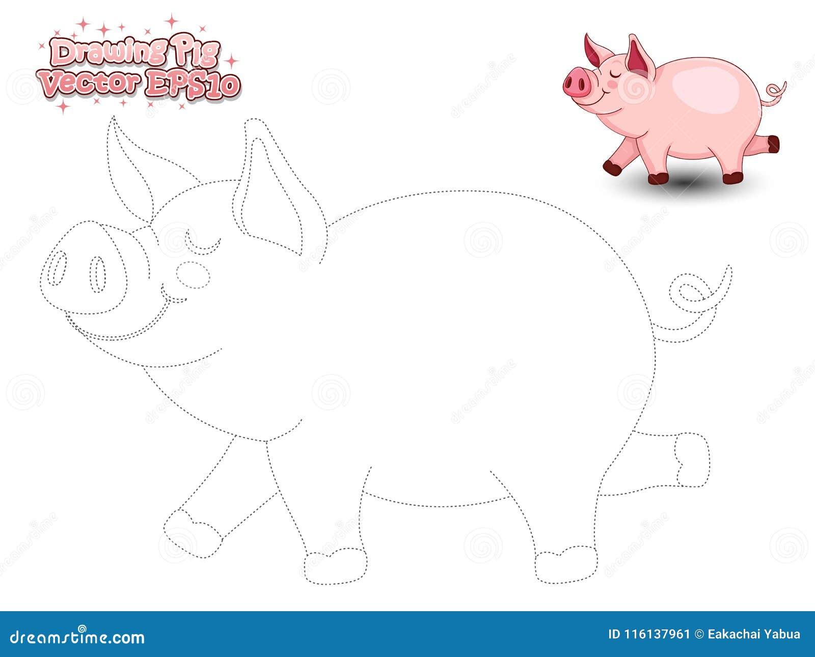 drawing cute cartoon pig color educational game kid drawing cute cartoon pig color educational game kids