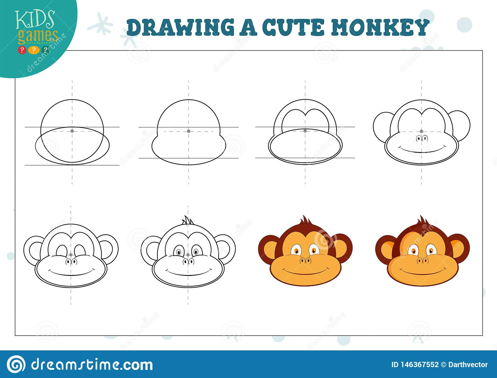Drawing A Cute Monkey Exercise For Preschool Kids Stock