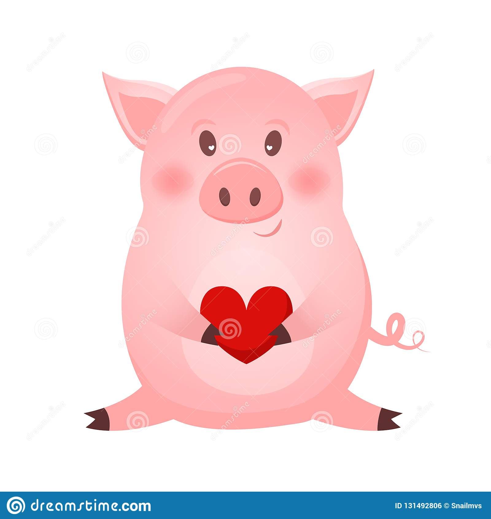 Drawing Of Cute Pig With Heart Vector Illustration Simple Concept