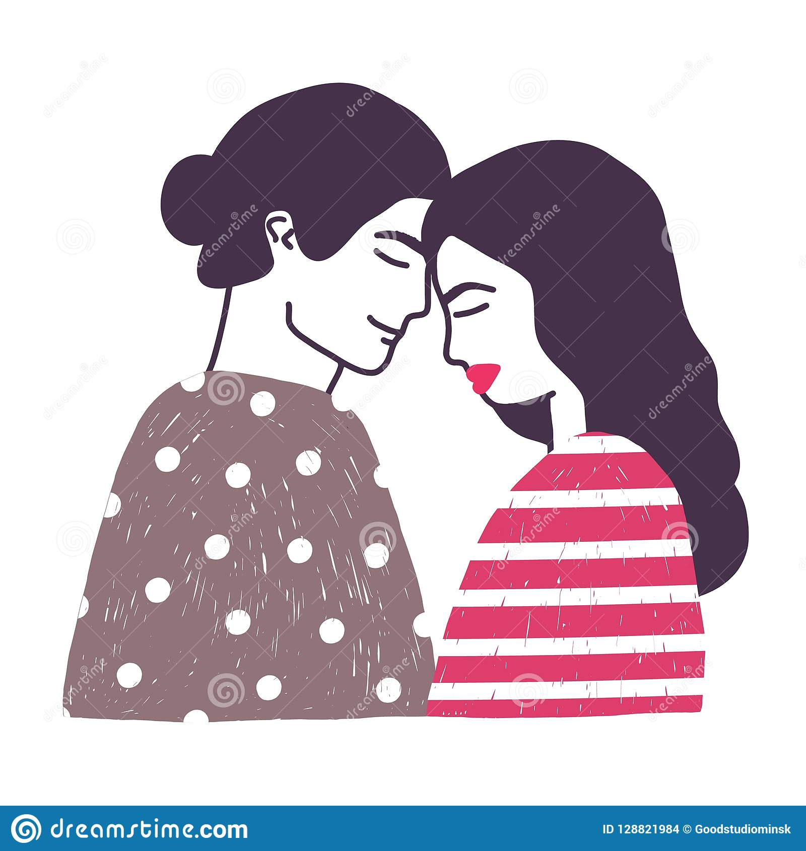 Drawing Of Cute Young Romantic Couple Or Pair Of Man And Woman In
