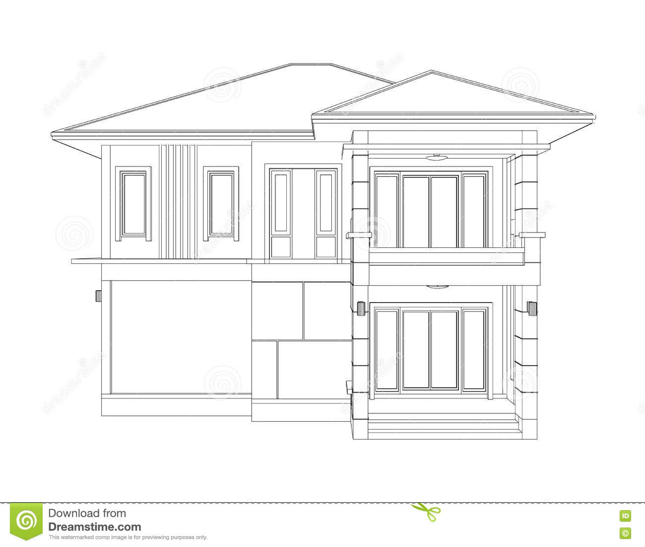 Drawing of 3d home building front view
