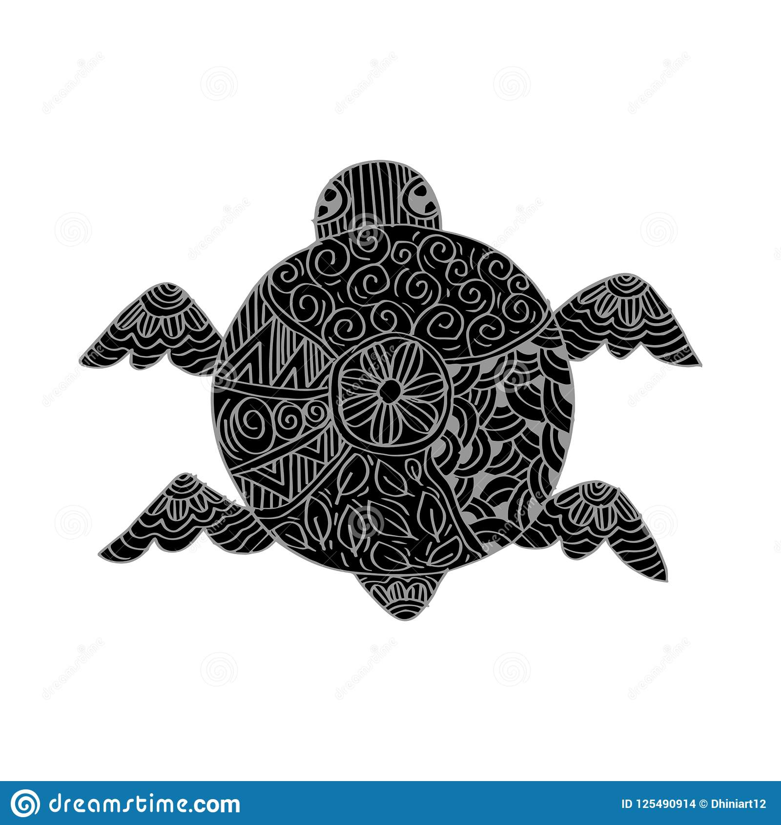 drawing decorative turtle stock illustration illustration of shell
