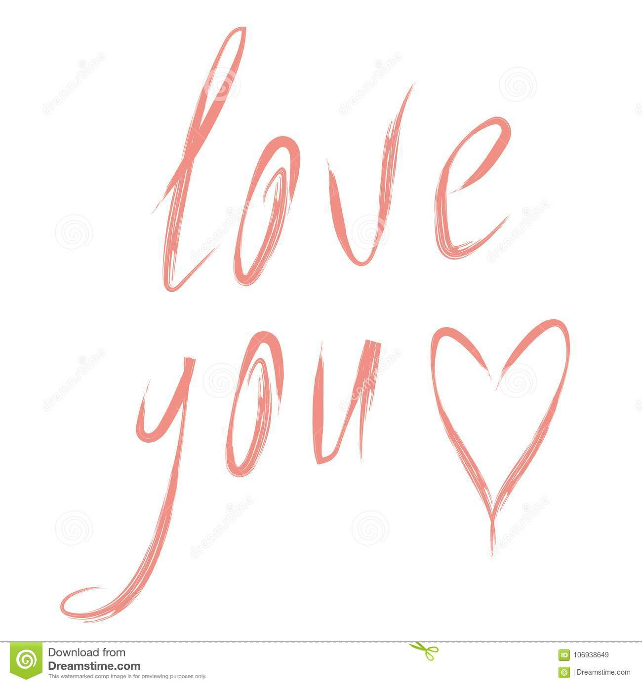 Drawing Design Romantic Text For Love Heart Stock Vector