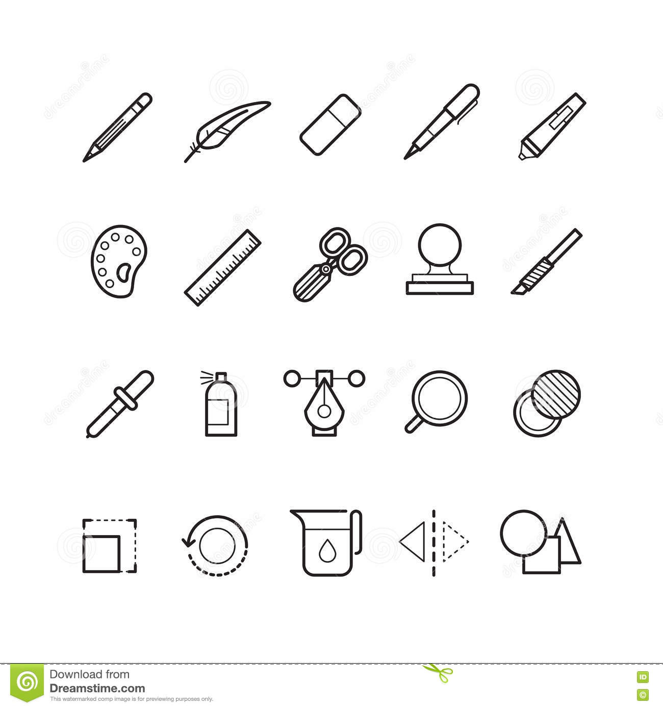 Drawing design tools vector line text editor icons set for Application design tools