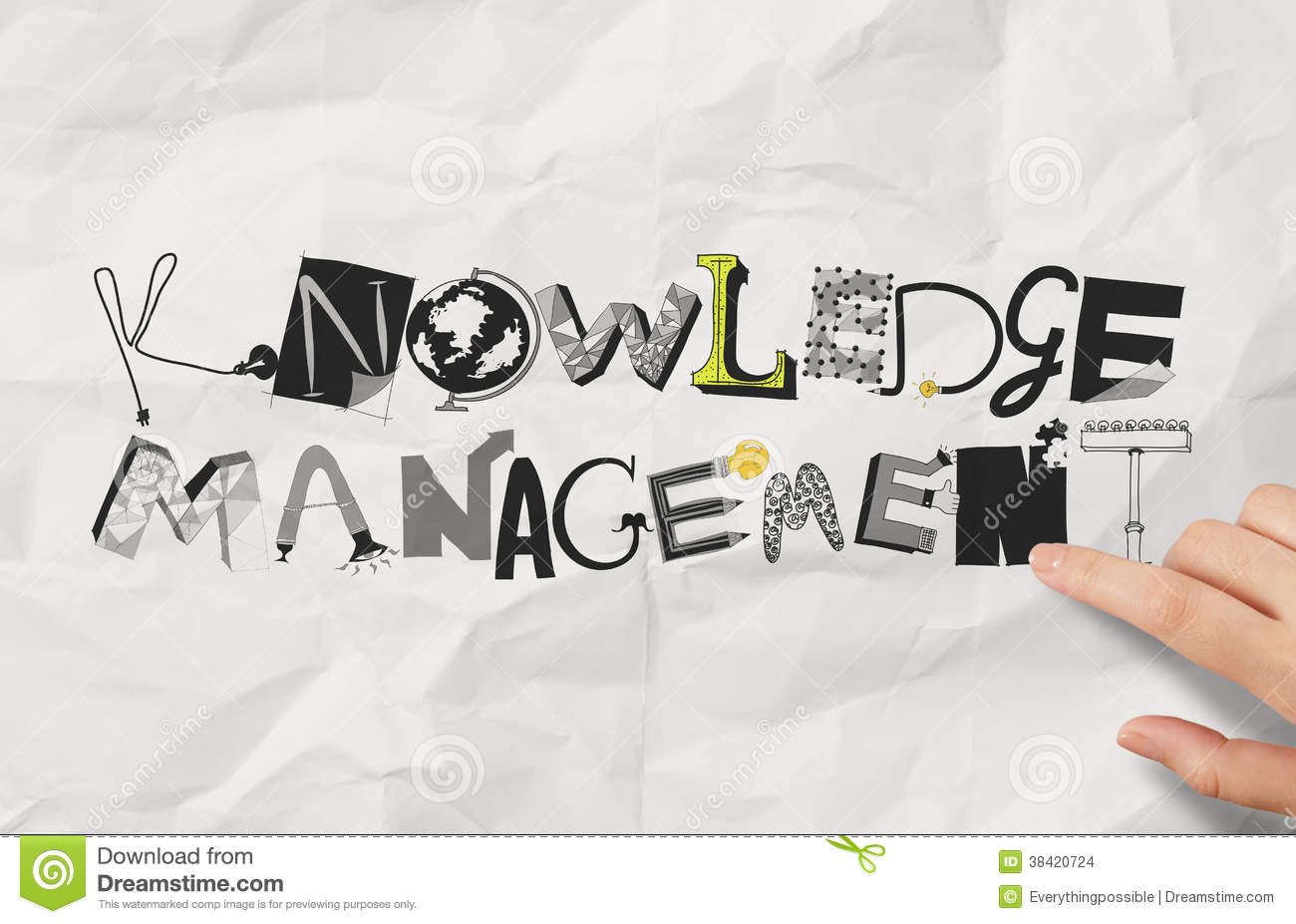 drawing design word knowledge management stock photo