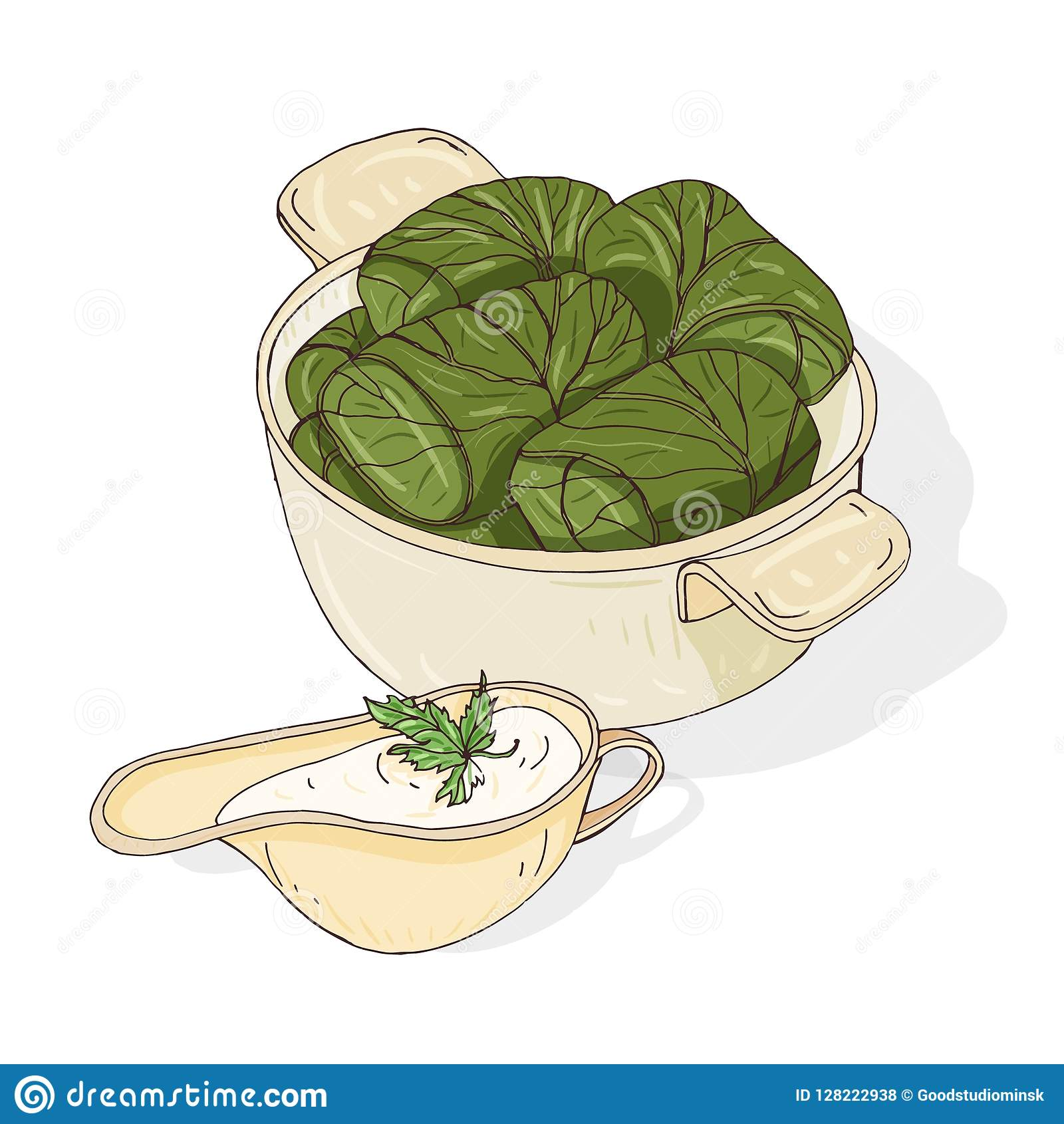 Drawing Of Dolma In Bowl And Sauce In Gravy Boat Tasty Georgian Meal Made Of Grape Leaves Stuffed With Minced Meat Stock Vector Illustration Of Dish Cooked 128222938