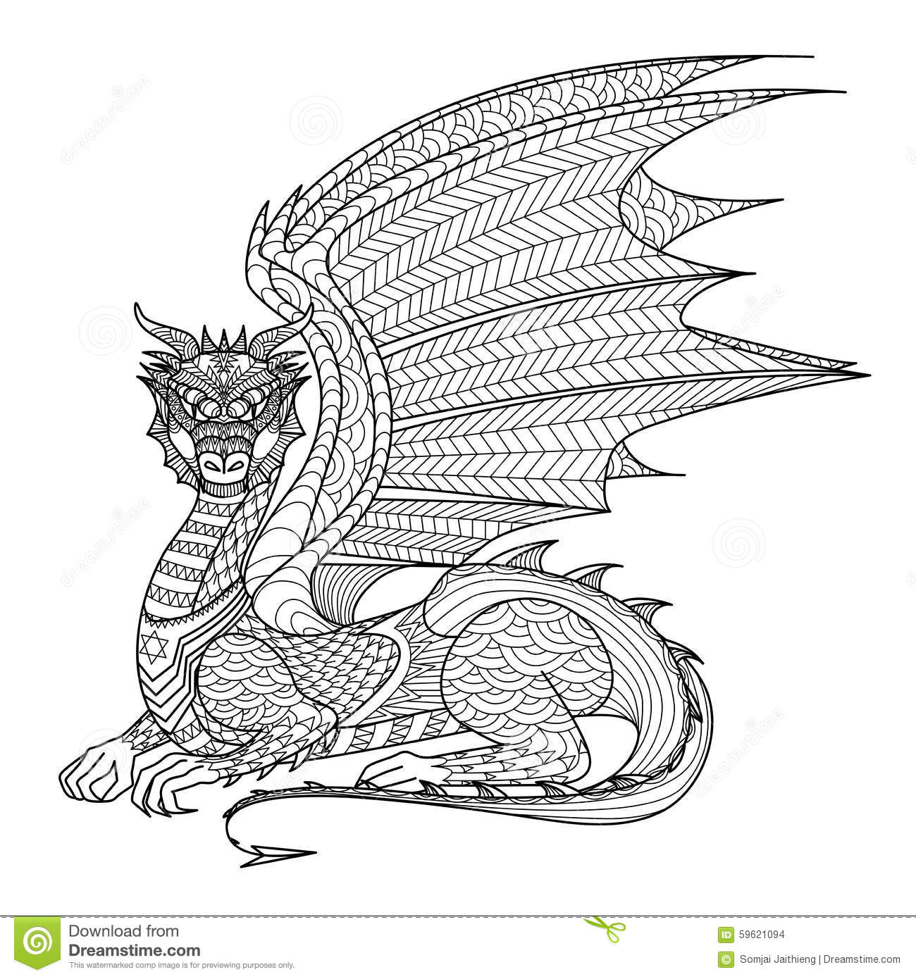 Drawing Dragon For Coloring Book Stock Vector Illustration Of