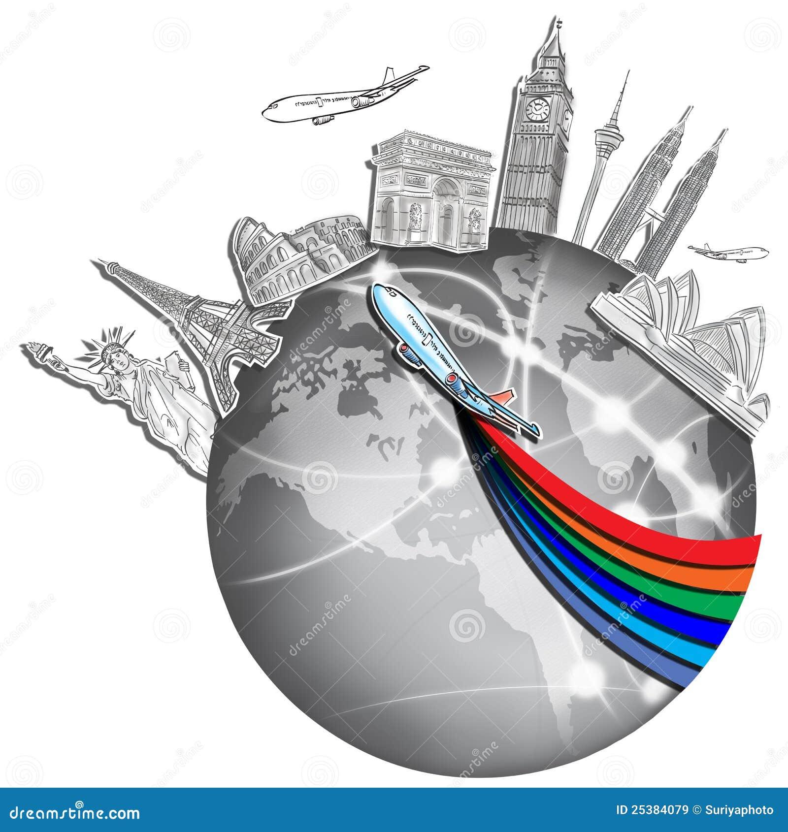 Drawing The Dream Travel Around World Stock Image