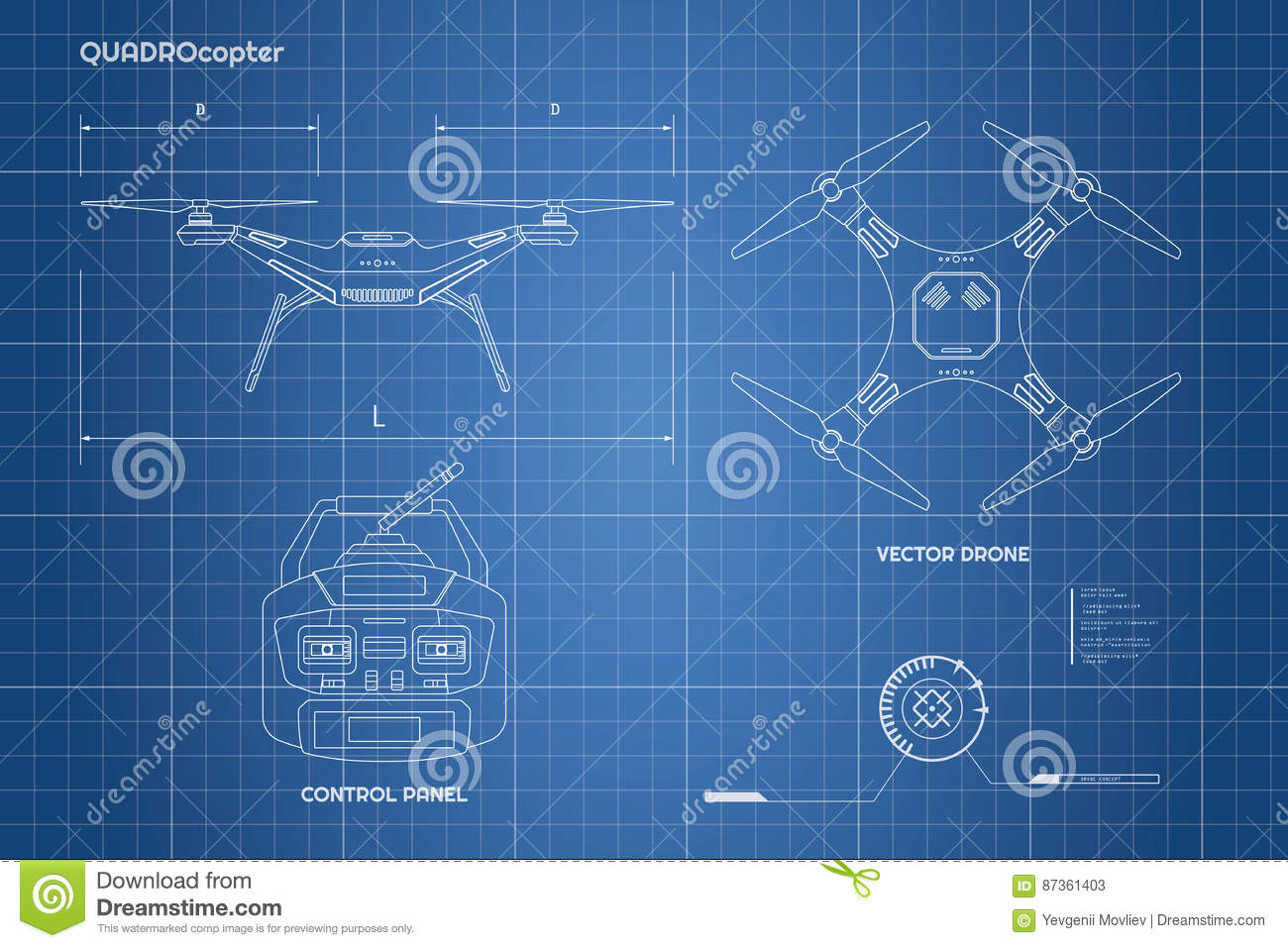 Drawing Of Drone Industrial Blueprint The Control Panel Quadrocopter Front Top View
