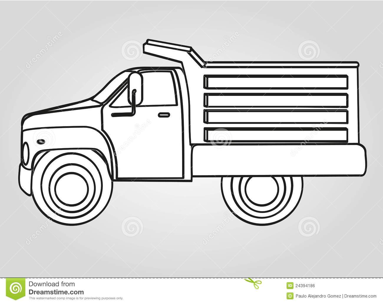 Drawing dump truck stock illustration. Illustration of ...