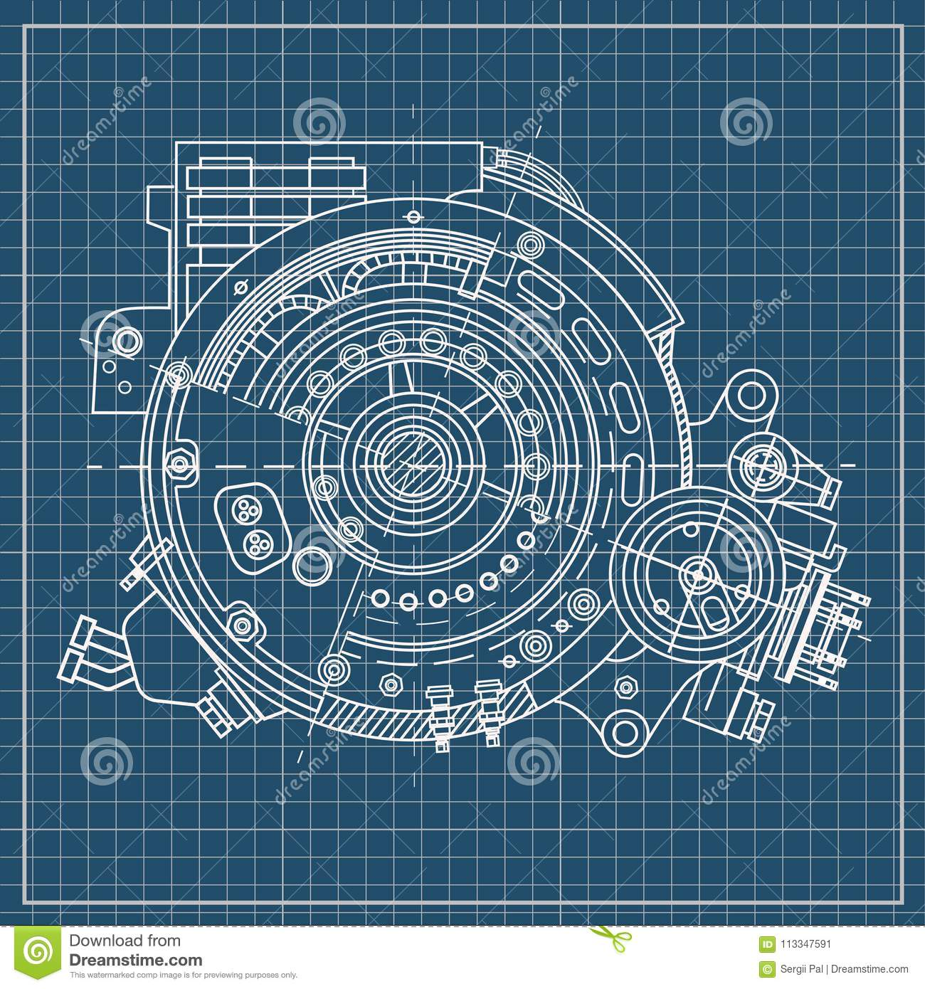 Drawing The Electric Motor Section Representing The Internal ...
