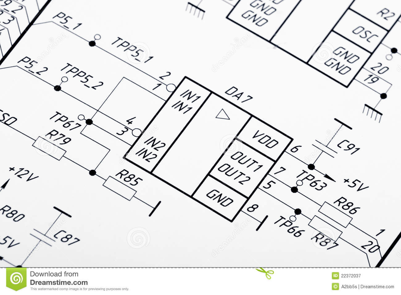 drawing of electrical circuits royalty free stock photography