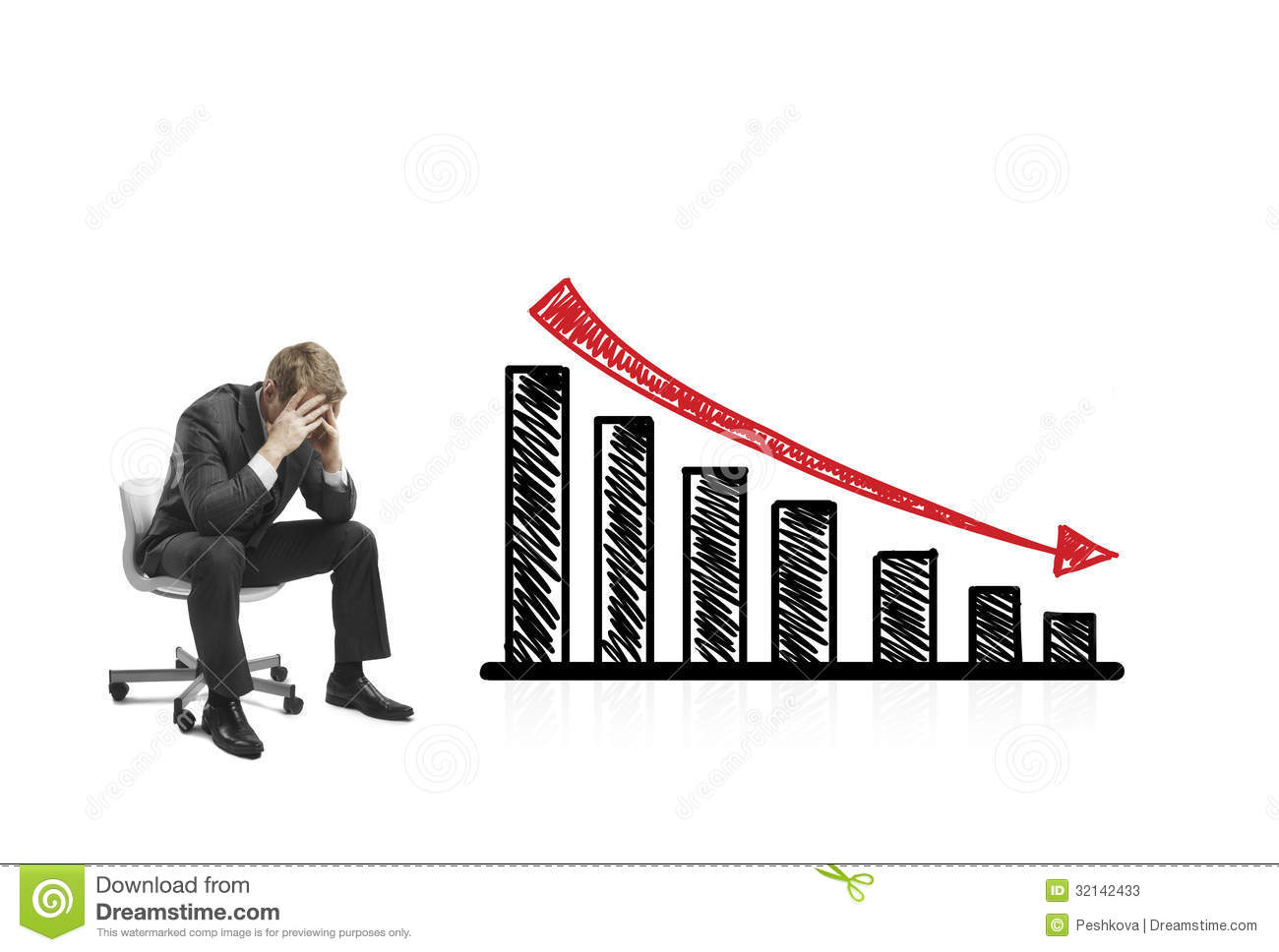 Stock Photos Drawing Falling Graph Sad Businessman Sitting Chair Image32142433 on 2d house drawing