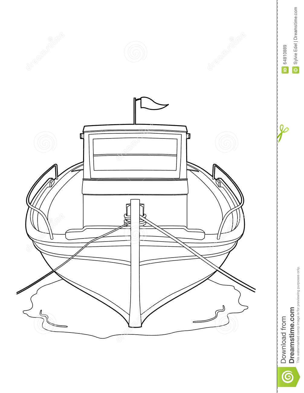 Drawing of a fishing boat stock vector illustration of for How to draw a fishing boat