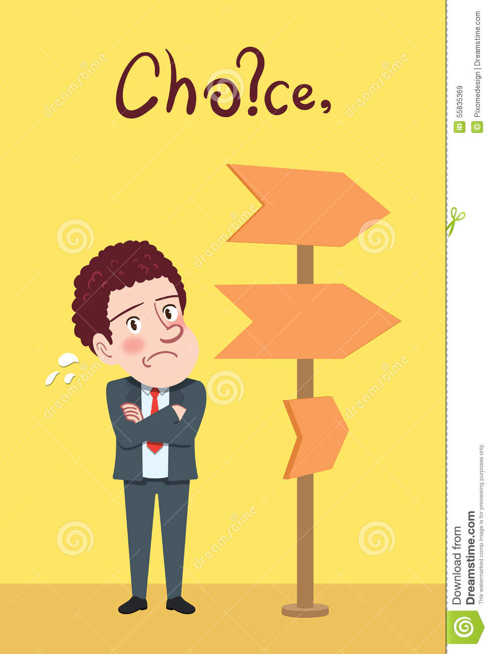 Drawing flat character design choice concept stock for Designers choice