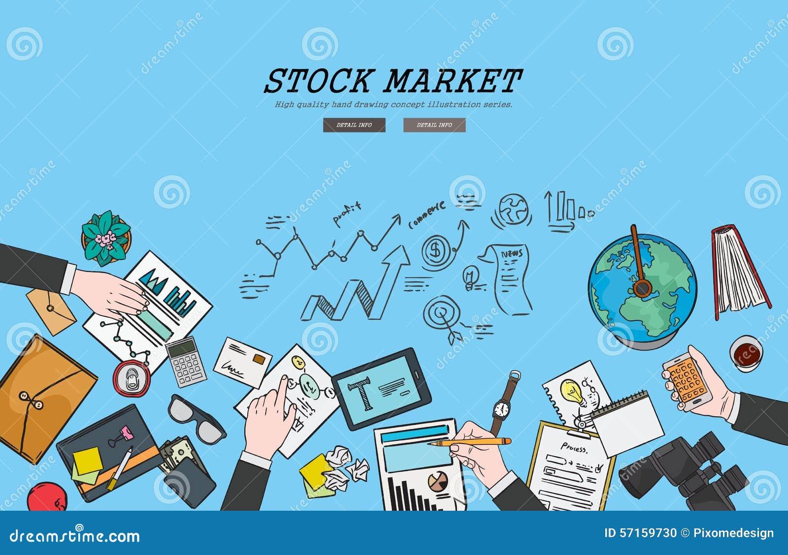 Drawing Flat Design Illustration Stock Market Concept