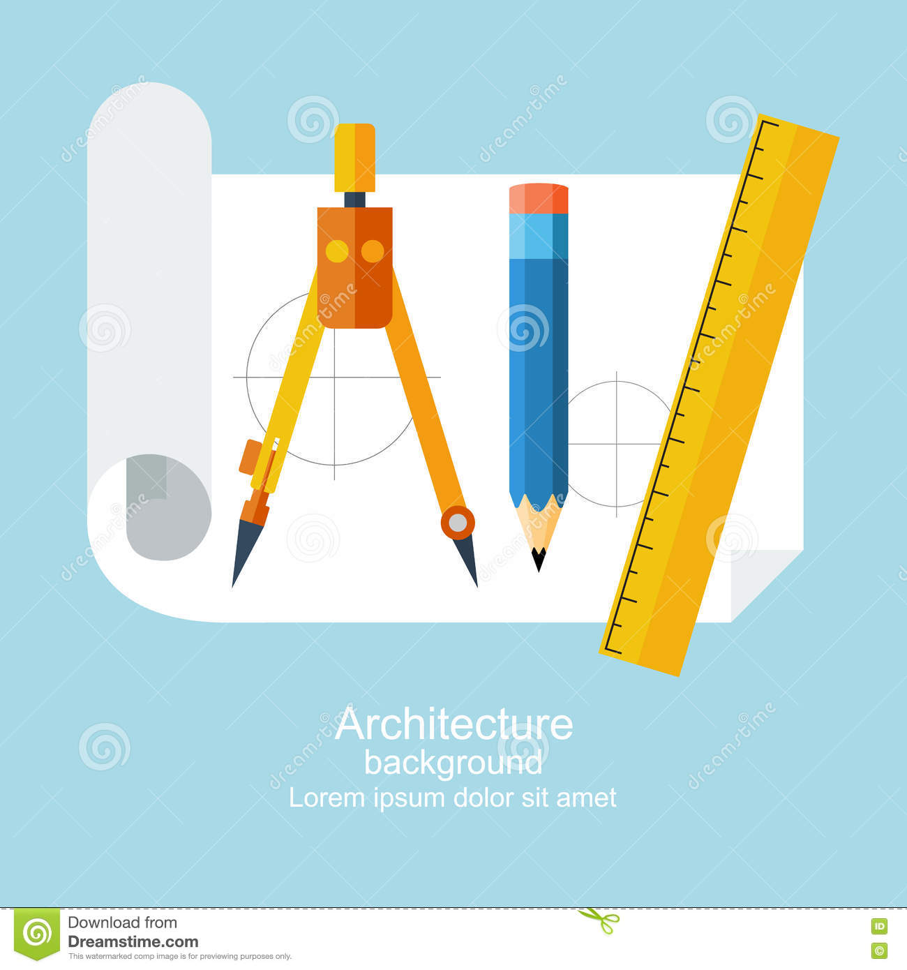 Drawing flat stock vector image 71312856 for Architecture drawing tools
