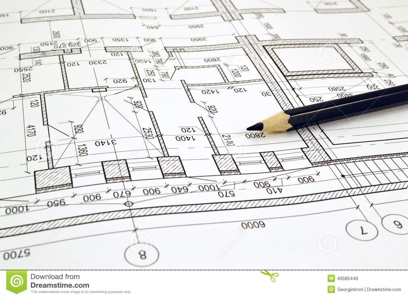 Drawing A Floor Plan Of The Building Stock Photo - Image ...