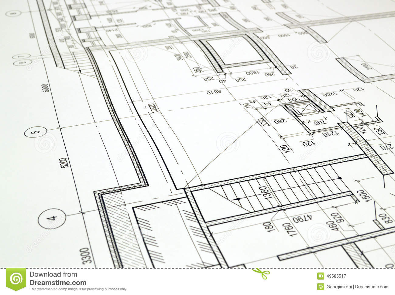 Drawing A Floor Plan Of The Building Stock Photo Image