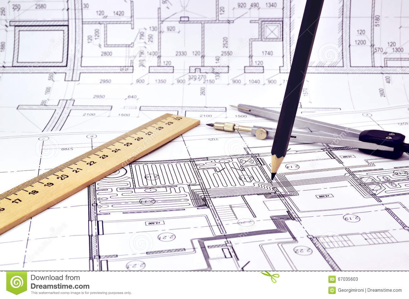 Drawing A Floor Plan Of The Building Stock Image - Image of ...