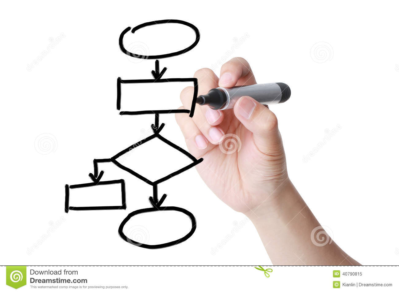 Drawing A Flowchart Stock Image Image Of Diagram Person 40790815