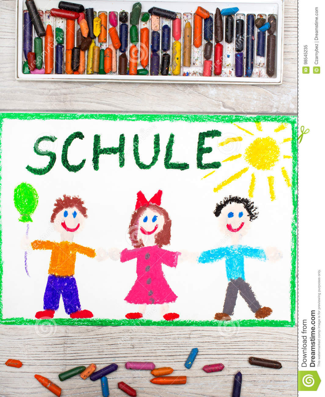 drawing german word school and happy children stock image image