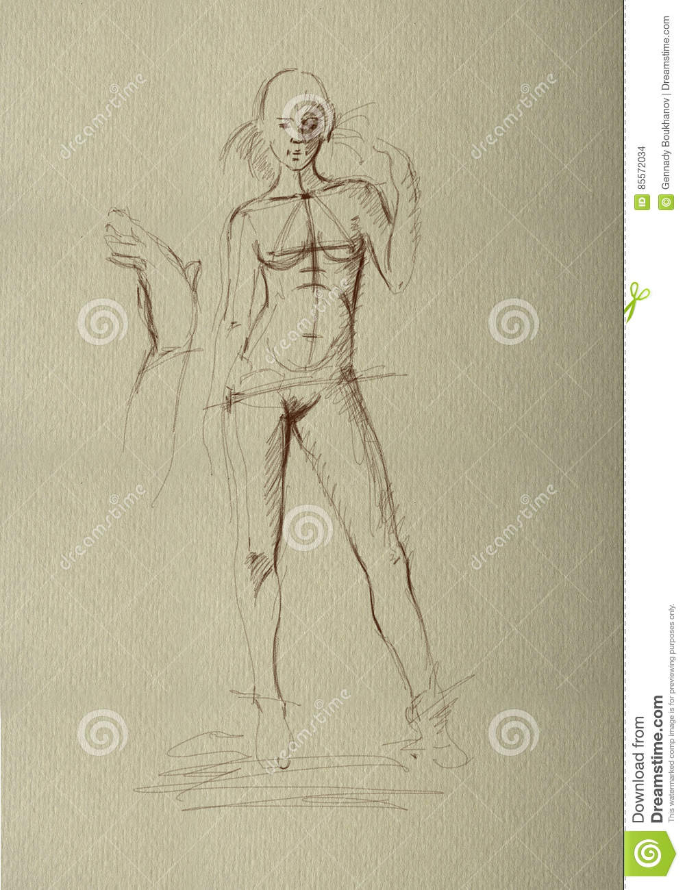 Pencil drawing a nude girl