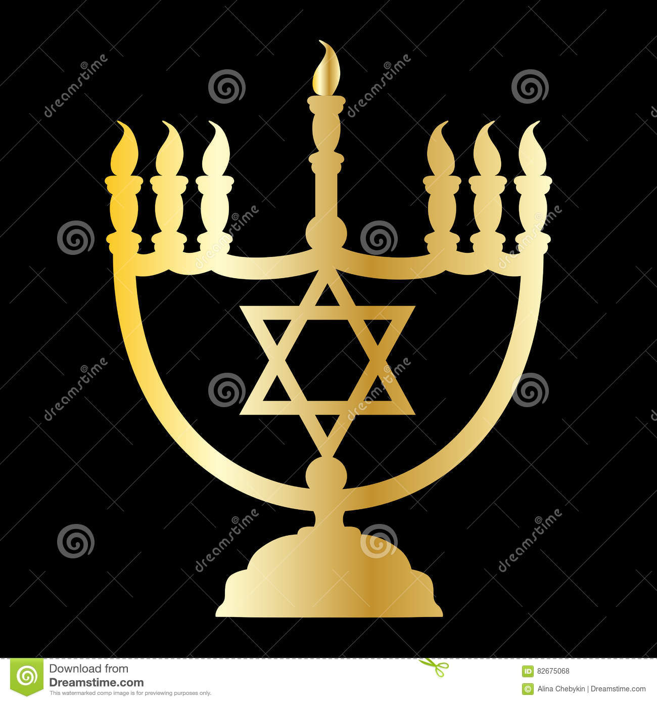 Drawing Gold Silhouette Menorah Jewish Star Black Background Traditional Jewish Candle Holder Seven
