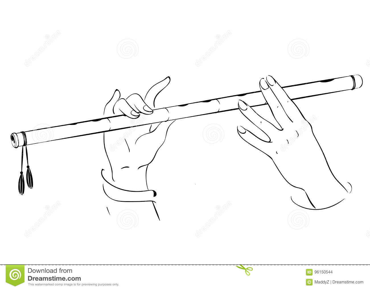 Drawing Of Hands Playing On Flute Lord Krishna Vector Illustration