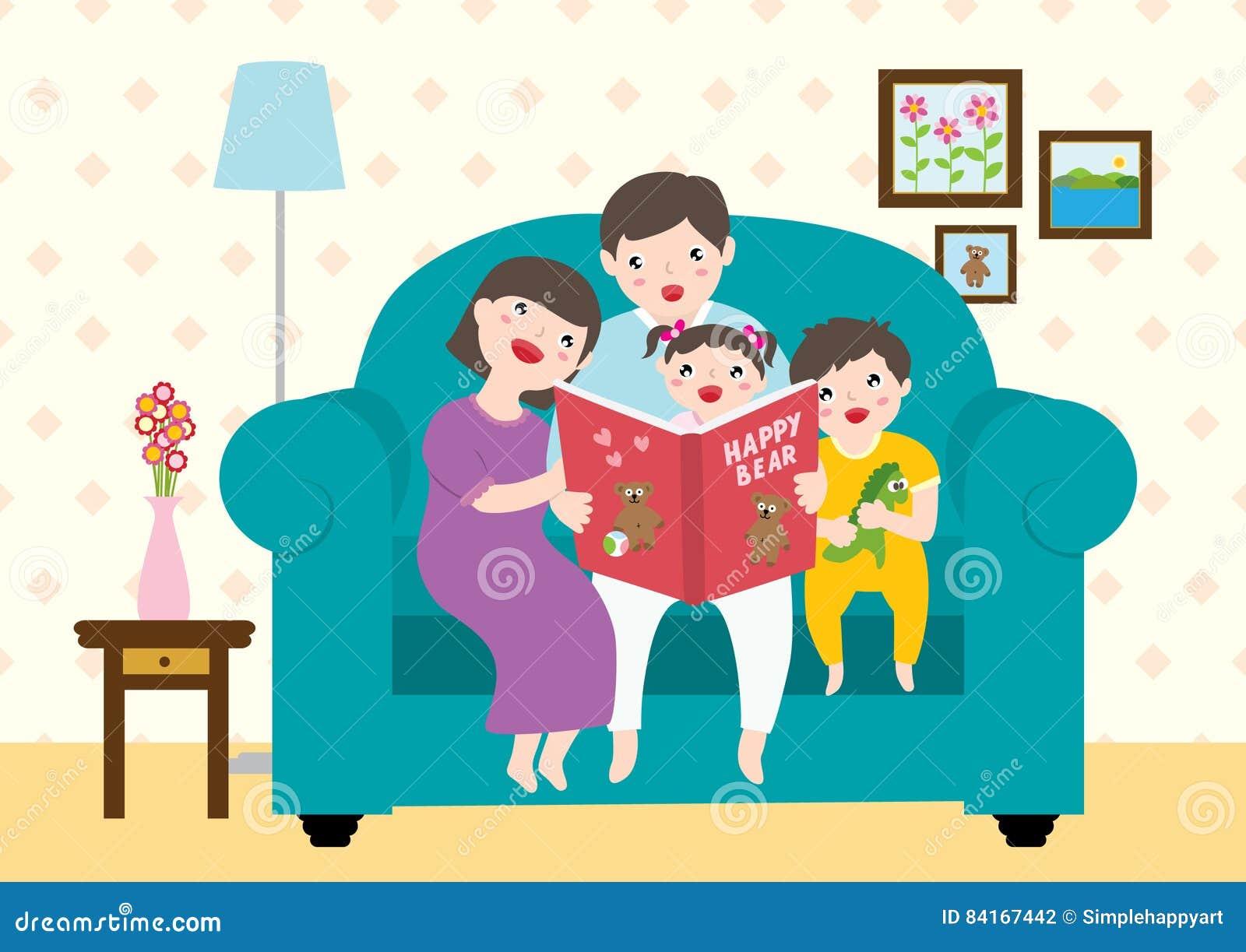 Drawing Of A Happy Family Enjoying Reading `Happy Bear` Storybooks