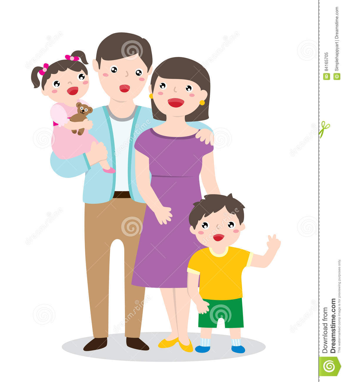 Drawing Of A Happy Family Portrait Stock Vector Illustration Of