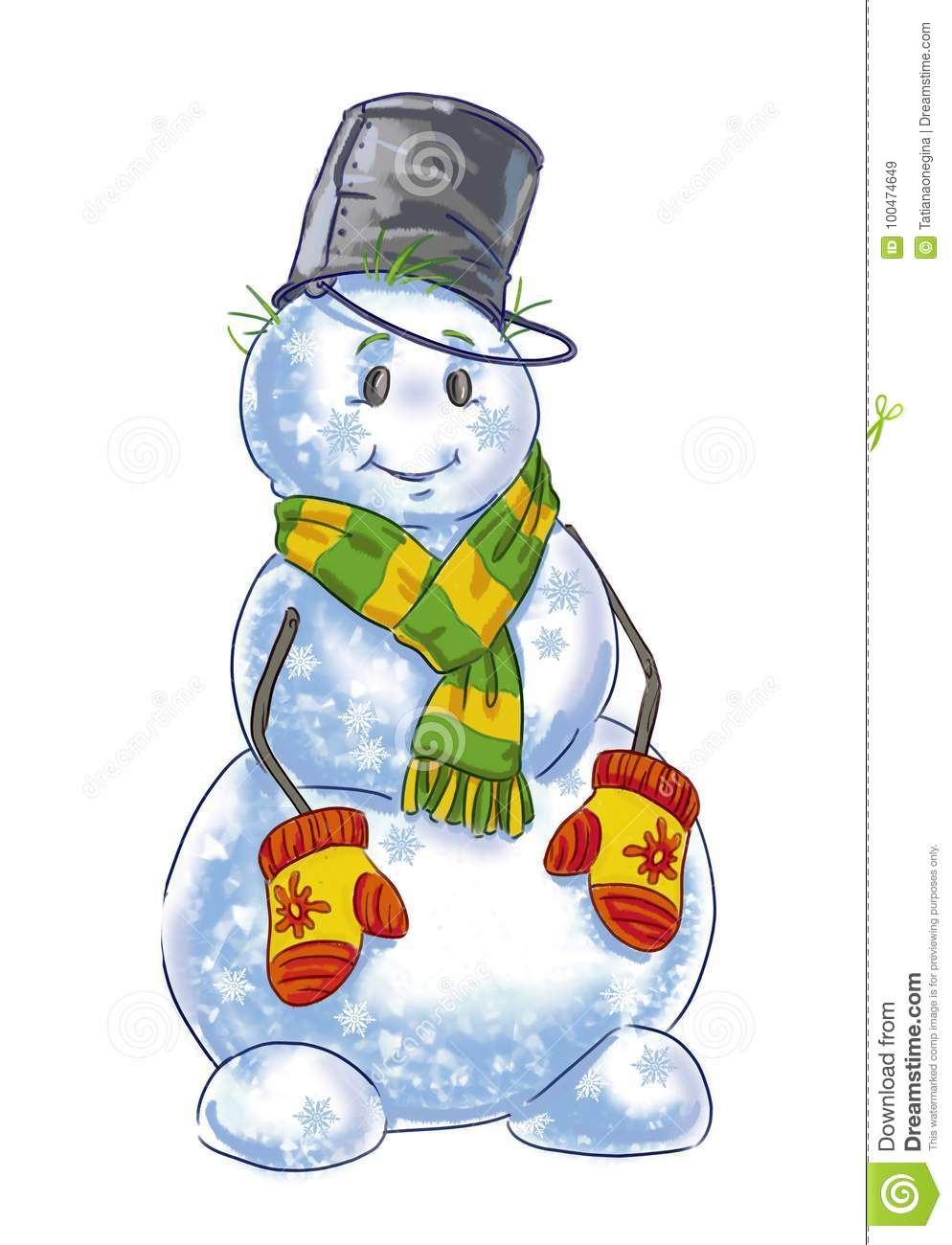 Drawing Of A Happy Snowman Stock Illustration Illustration Of Scarf