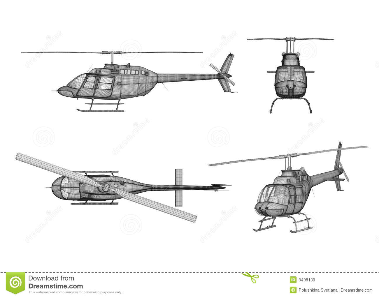 how to draw a helicopter 3d